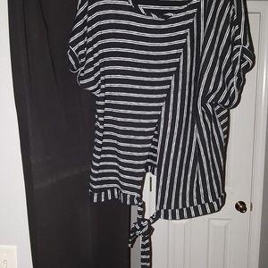 Black pants w/Black-white strips